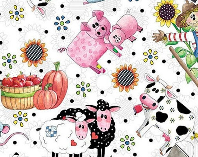 Quilting Treasures Patchwork Farms Tossed Farm Animal Cow Horse Pig Kids Fabric 26109-Z BTHY