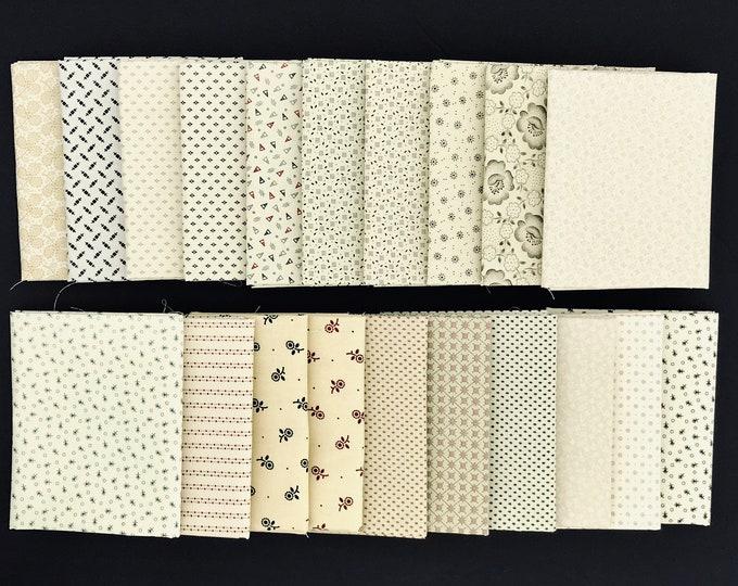 20 Civil War Shirtings Cream Lights Moda Windham Reproduction Quilt Fabric Fat Quarter Bundle