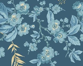 Andover Laundry Basket Quilts LBQ Edyta Sitar Something Blue Cream Floral Fabric A-8822-B BTY