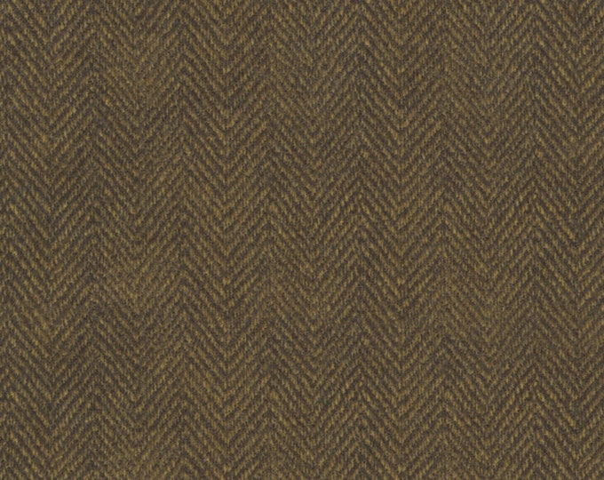 Maywood Woolies Dark Brown Herringbone MASF-1841-J Flannel Fabric BTY