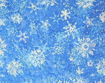 Island Batik Midnight Tinsel Light Blue Snowflake Snow Batik Fabric OOP HS14A-D1 BTY