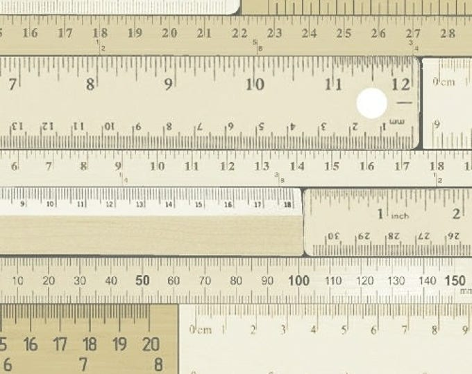 Windham Measure Beige Cream Tonal Ruler Number Fabric 43121-1 BTY