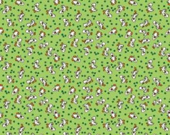 Penny Lane Fabrics Toy Chest 3 Green Duckling Duck Floral Thirties Reproduction Fabric C6762 BTY