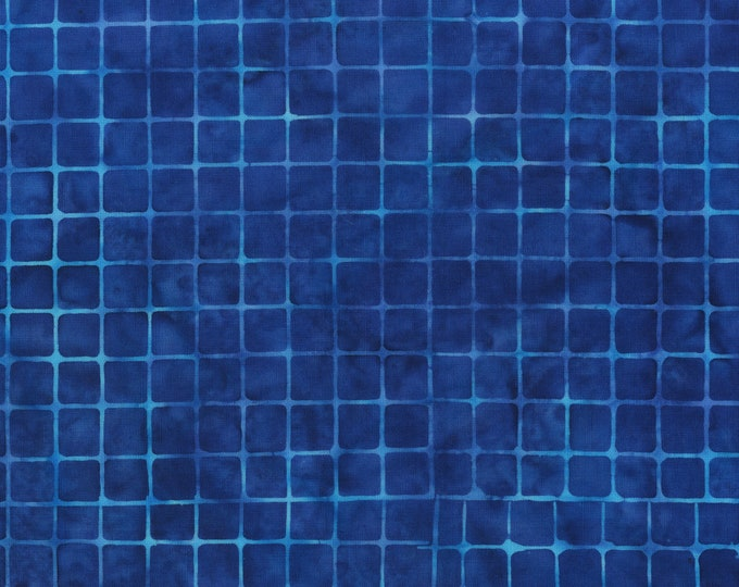 Anthology Art Inspired Batik Checkerboard Chic Ocean Royal Blue Grid Fabric 809Q-9 BTY