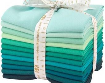 12 Kona Cotton Fat Quarters Lush Lagoon Teal Green Blue FQ-922-12 Quilt Fabric Fat Quarter Bundle
