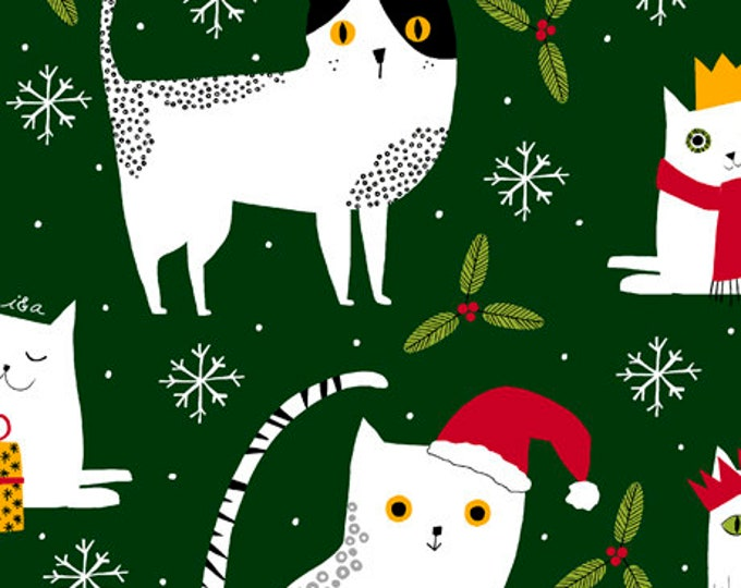 Ink and Arrow Quilting Treasures Meowy Christmas Cat Green 27117-F Fabric BTY