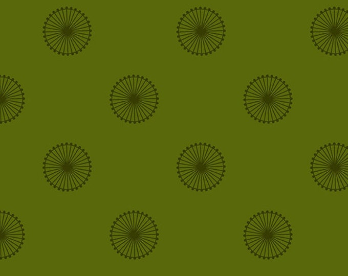 Andover Quantum Giucy Giuce Chromosome Spruce Green Wagon Wheel Circle Fabric BTY 8961-G