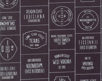 Moda Sweetwater FREEDOM United Charcoal Gray Grey White State Name Nickname Fabric 5640-16 BTY