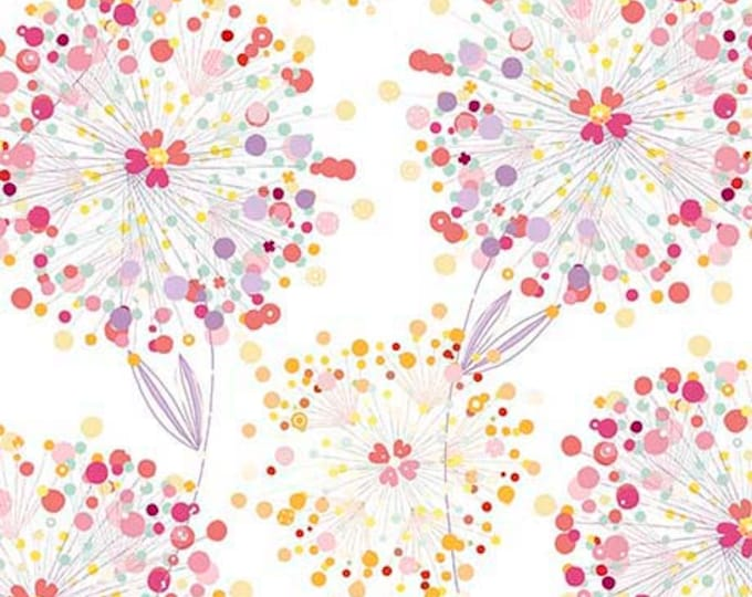 Confetti Blossoms Packed White Background Pink Purple Orange Floral Fabric 26234-Z BTY