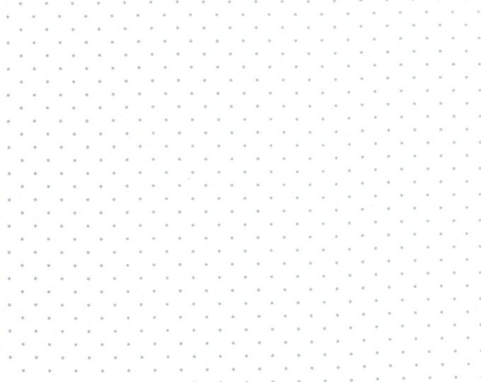 Moda Zen Chic Modern Background White Paper Silver Polka Dot Fabric 1588-13 BTY