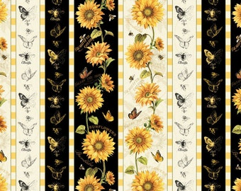Wilmington Prints Follow the Sun Sunflower Bee Butterfly Black Cream Stripe Fabric 1409-86428 2.75 yards