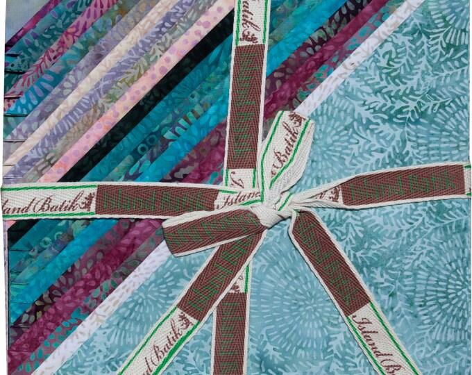 "Island Batik Coastal Mist Blue Purple Batiks Stacks 42 10"" Squares of Batik Fabric"