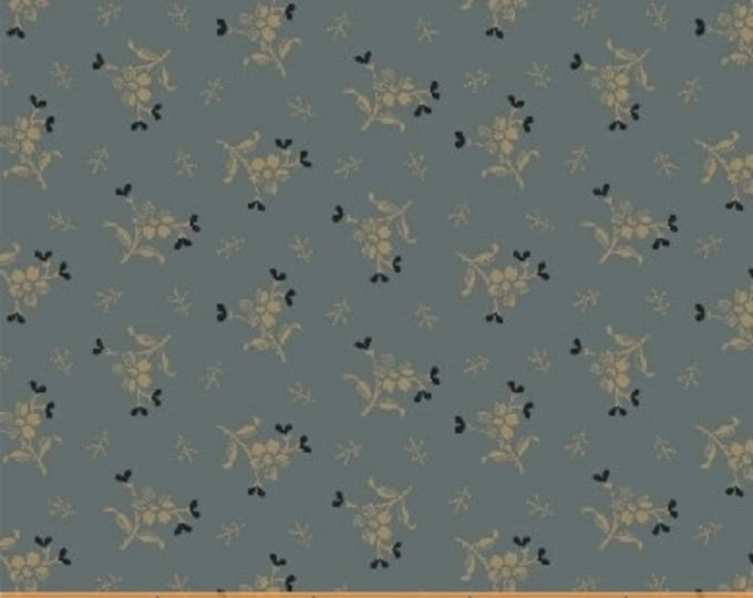 Windham Kindred Spirits Sisters Jill Shaulis Blue Cream Beige Floral Bouquet Civil War Reproduction Fabric 42316-6 BTY
