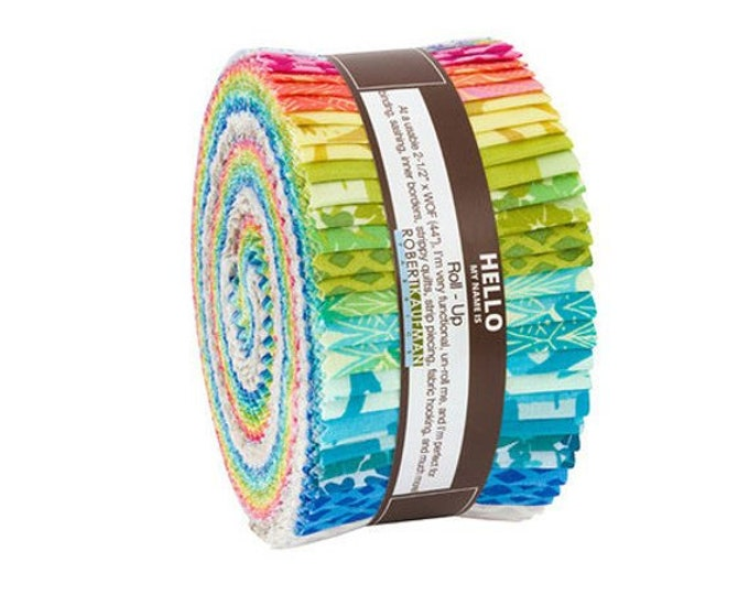 "Kaufman Marmalade Dreams Valori Wells Pink Blue Green Roll Up 2.5"" Strips Fabric"