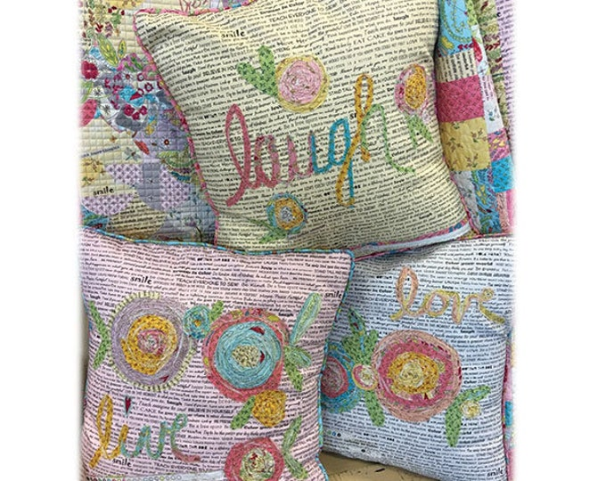 Fiberworks Laura Heine Collage Live Laugh Love Pillow Pattern 20 x 20