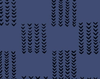Windham Twilight Navy Blue Black Arrow 100% Cotton Mud Cloth 41097-2 BTY