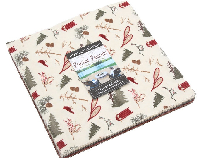 NEW Moda Frosted Flannels Holly Taylor Holiday Christmas Red Green Brown 42 Flannel Fabric Fabric 10 inch Squares