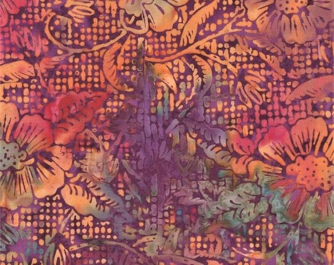 Batik Textiles GARDENING with TUTU batik orange floral with purple tone  background Designer Patterns by Susie  Cotton 4609 BTY