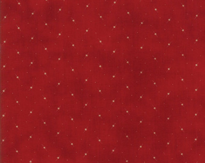 Moda Star and Stripe Gatherings Red with Cream Star Dot Fabric 1266-15 BTY