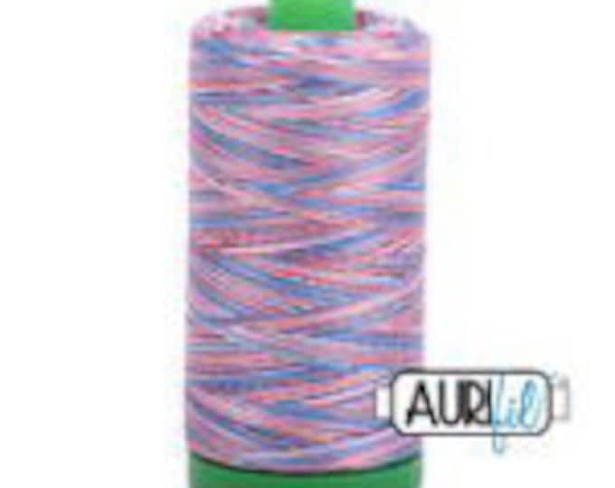 AURIFIL MAKO 40 Wt 1000m 1093y Color 3852 Red/White/Blue Variegated Quilt Cotton Quilting Thread