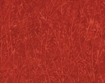 Island Batik Florida Oranges Grass Red Orange Leaf Batik Fabric 121516237 BTY