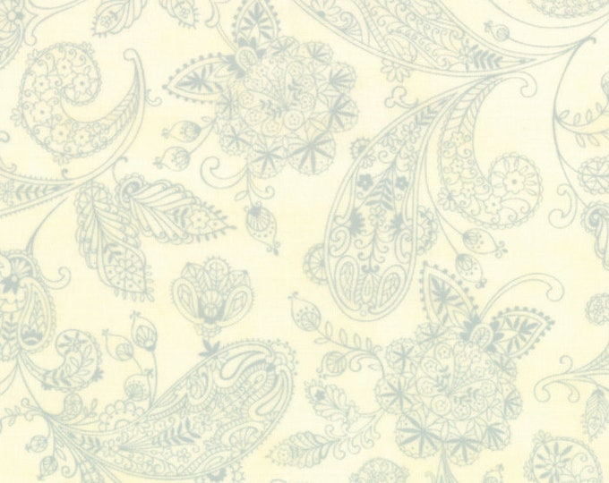 Moda Snowfall Prints Minick and Simpson Cream Light Blue Paisley Holiday Fabric 14833-14 BTY