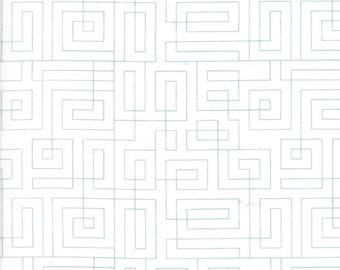 Moda Thrive White Background Maze Square Geometric Composed  Fabric 10906-25 BTY