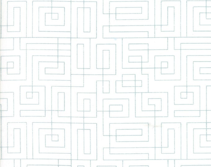 Moda Thrive Piece N Quilt White Background Maze Square Geometric Teal Fabric 10906-25 BTY PRECUT
