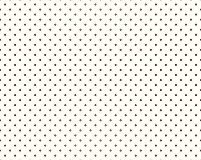 Riley Blake Designs Small Dots on Cream BROWN c600-90 Cotton Fabric BTY