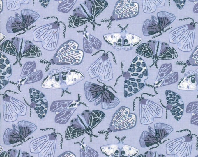 Moda Twilight by One Canoe Two Bug Blue Tonal White Moth Fabric 36032-12 BTY