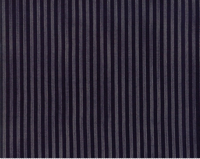 Moda Star and Stripe Gatherings Dark Blue with Cream Stripe Fabric 1269-16 BTY