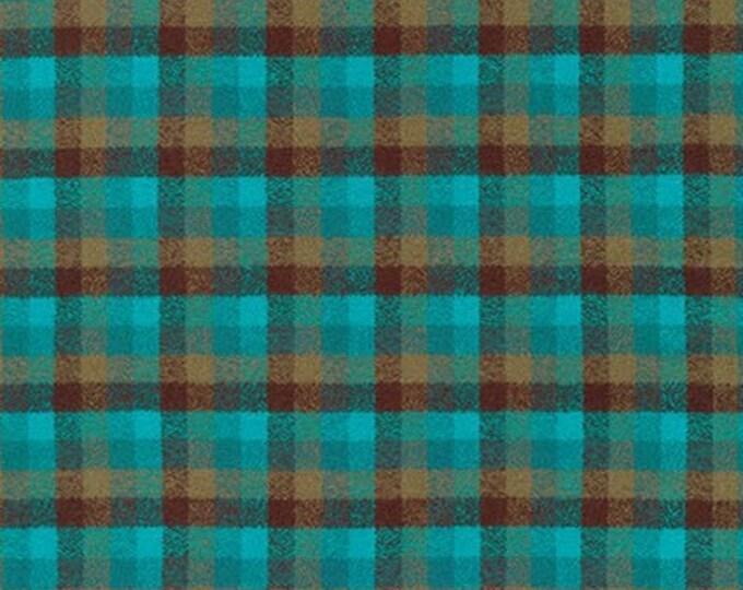 Kaufman Mammoth Flannel Surf Teal Green Blue Brown Plaid Fabric 16427-215 BTY