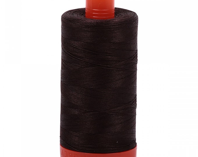 AURIFIL MAKO 50 Wt 1300m 1422y Color 1130 Very Dark Bark Quilt Cotton Quilting Thread