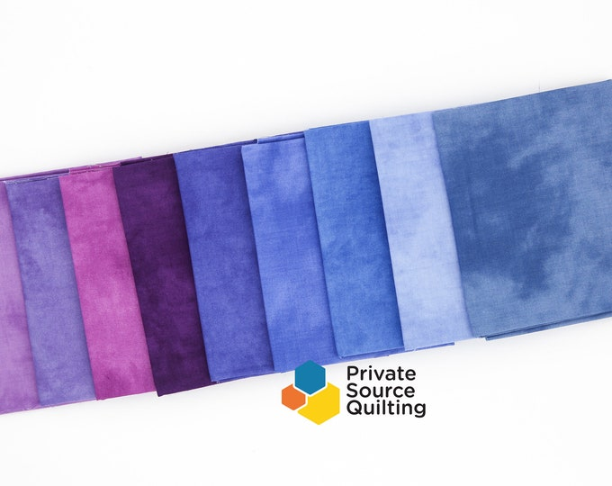 Windham Palette Berry Marcia Derse Purple Blue Pink Solid Cotton Fabric 9 Fat Quarter Bundle