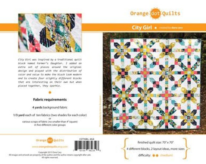 "City Girl Orange Dot Quilts Friendly Modern Quilt Pattern 70"" x 70"" 4 different Block, 2 Layout options"
