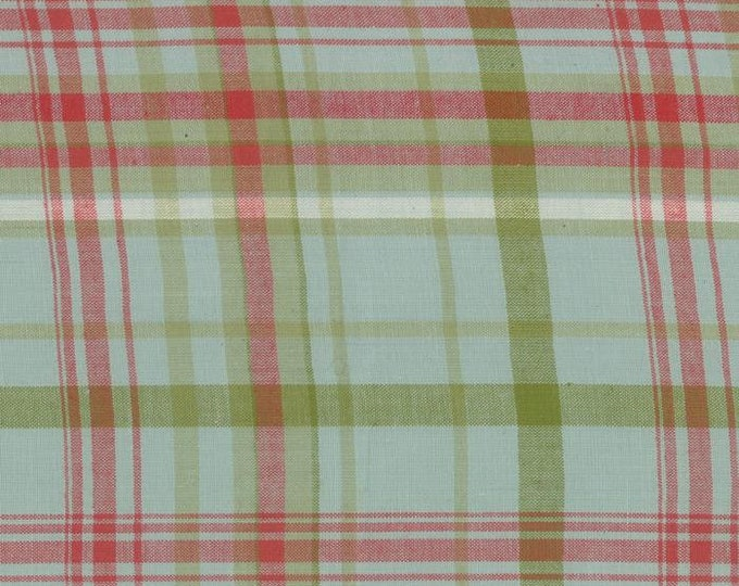 Moda Snowfall Prints Minick and Simpson WOVENS Ice Light Blue with Red Green Plaid Fabric 12812-30 BTY