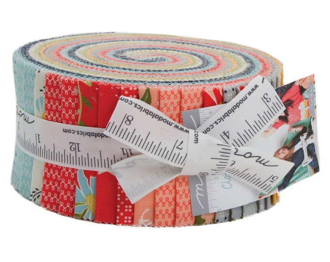 Moda Sherri and Chelsi Clover Hollow Pink Green Blue Floral Jelly Roll 2.5 Fabric Strips