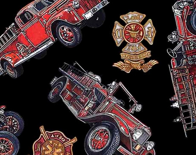 5 Alarm Fire Fighter Old Fashioned Fire Truck Fireman Truck Badge 26293-J Fabric BTY