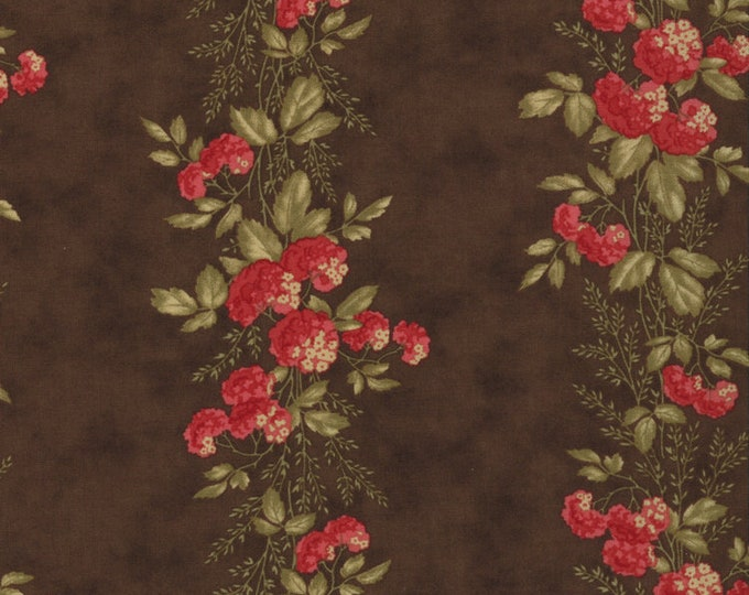 Moda Double Chocolat 3 Sisters Shabby Chic Brown Red Border Floral OOP Fabric 4091-11 FQ