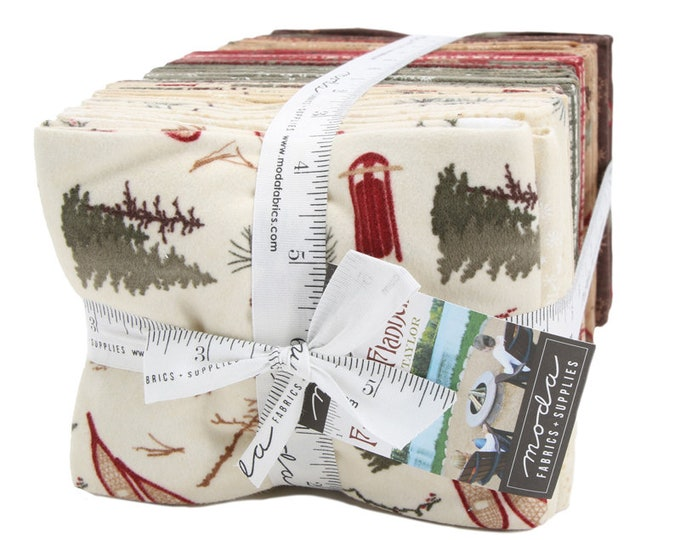 NEW Moda Frosted Flannels Holly Taylor Holiday Christmas Red Green Brown 28 Fat Quarter Flannel Fabric FQ Bundle