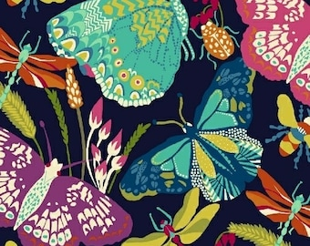 Windham Butterfly Dance Navy Blue Floral Bug Insect Fabric 50233-1 BTY