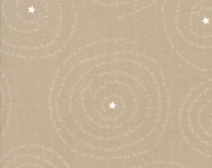 Moda Sweetwater FREEDOM Brave Kraft Tan Beige White Patriotic American Word Fabric 5642-25 BTY