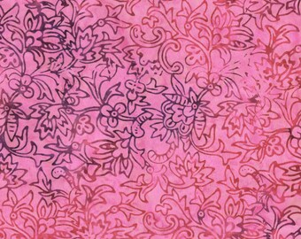 RJR Malam Jinny Beyer Batik Fabric Pink Purple Leaf 2551-009 BTY