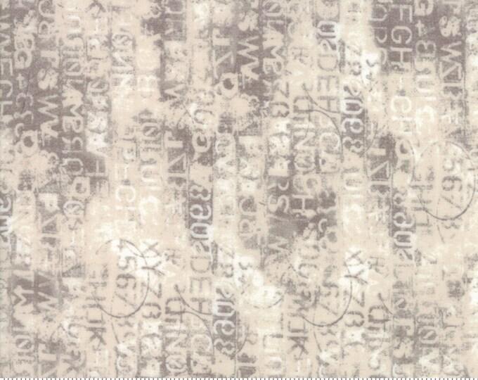 Moda Basic Grey METROPOLIS Cipher Marble Grey Eggshell Writing  30566-15 Fabric BTY