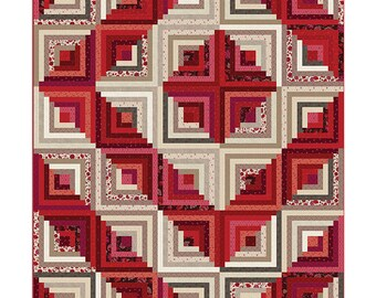 Nancy Rink Remember Red Cream Floral Around the Cabin Log Cabin Quilt Pattern in 3 sizes