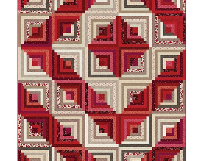 Nancy Rink Remember Red Cream Floral Around the Cabin Log Cabin Complete Quilt Kit 70 x 82