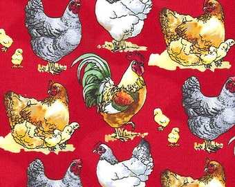 Windham The Hen House Chicken Rooster on RED background Fabric 42908-2 BTY