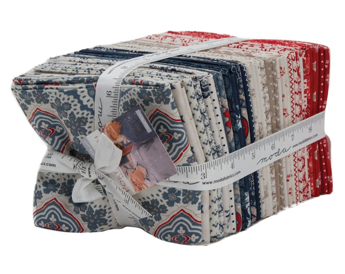 Moda Minick and Simpson Portsmouth Red Cream Tan Blue Paisley 36 Fat Quarters Fabric