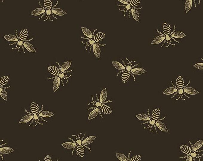 Andover Riviera Rose Renee Nanneman Black Beige Honey Bee Bug Insect Fabric 9084-K BTY
