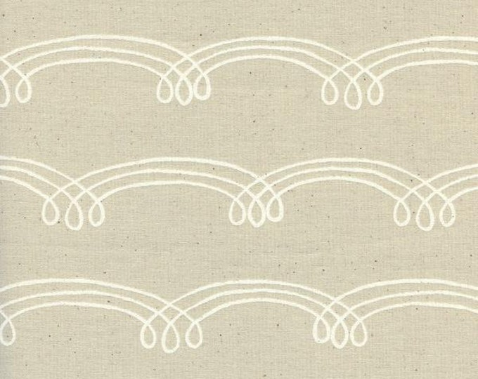 Zephyr Whirlwind Dust  Cream Swirls Unbleached Cotton Cotton and Steel Fabric 1923-2 BTHY